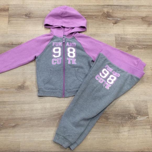 Healthtex Girls Lavender & Gray Jog Set